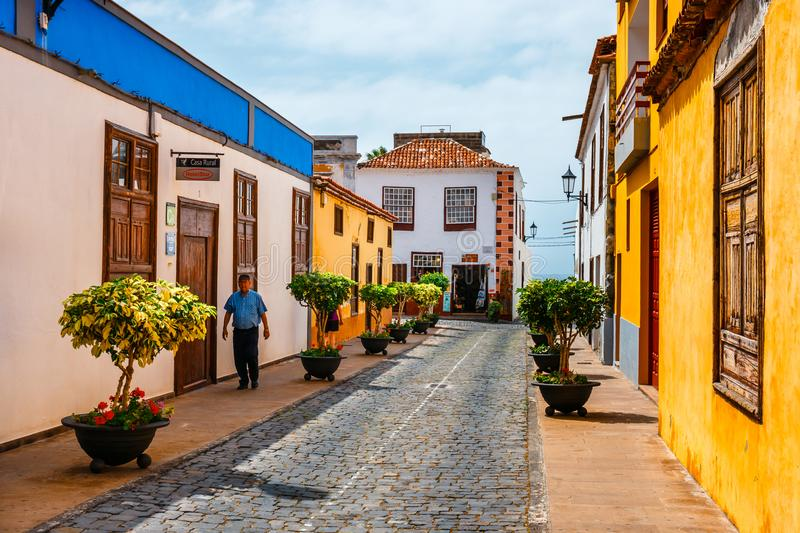 Colorful buildings on the streets of Garachico, Tenerife, Canary Islands, Spain. Garachico, Tenerife, June 08, 2015: Colorful buildings on the streets of stock image