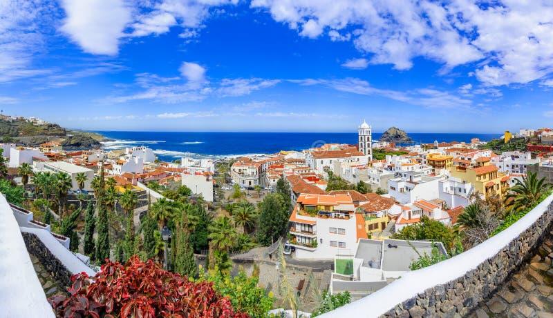 Garachico, Tenerife, wyspy kanaryjska, Hiszpania: Przegląd col zdjęcie royalty free