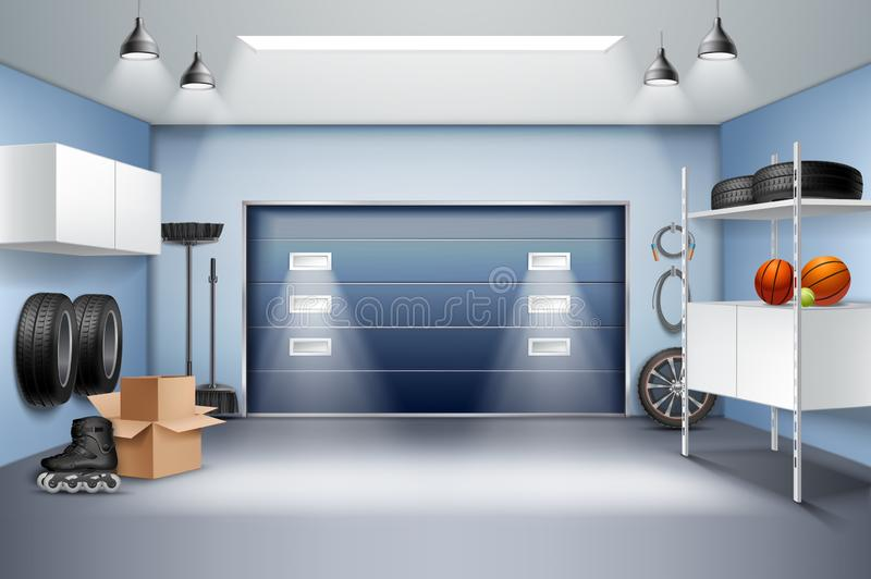 Garage Binnenlandse Realistische Samenstelling royalty-vrije illustratie