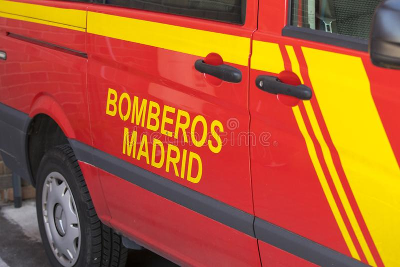 Garage of cars and equipment of the city fire department. MADRID, SPAIN - 26 MARCH, 2018: Garage of cars and equipment of the city fire department stock photography