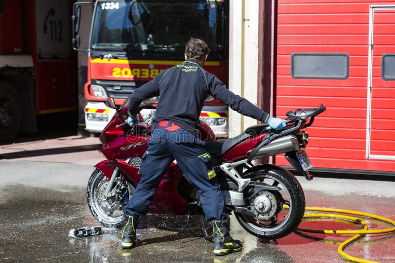 Garage of cars and equipment of the city fire department. MADRID, SPAIN - 26 MARCH, 2018: Garage of cars and equipment of the city fire department royalty free stock image