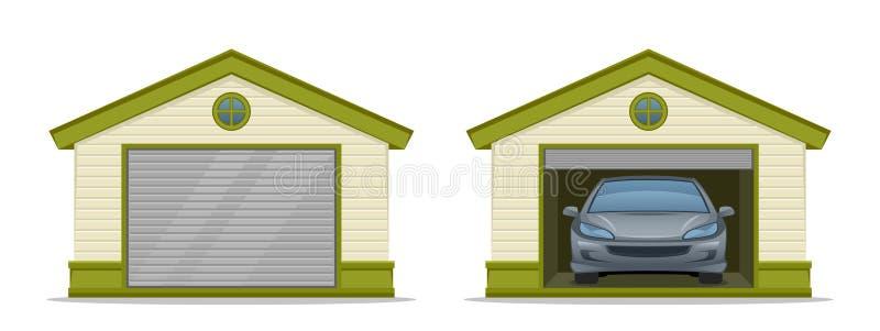 Garage con l'automobile illustrazione di stock