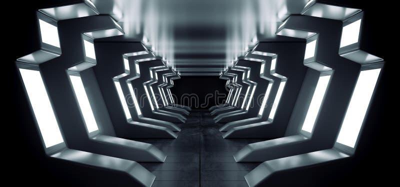 Garage concreto riflettente d'ardore del portone dell'entrata di corridoio del tunnel del corridoio del pavimento del metallo blu illustrazione di stock