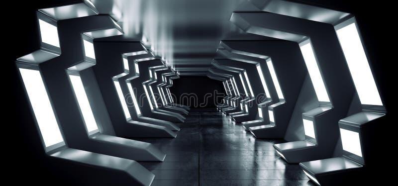 Garage concreto riflettente d'ardore del portone dell'entrata di corridoio del tunnel del corridoio del pavimento del metallo blu illustrazione vettoriale