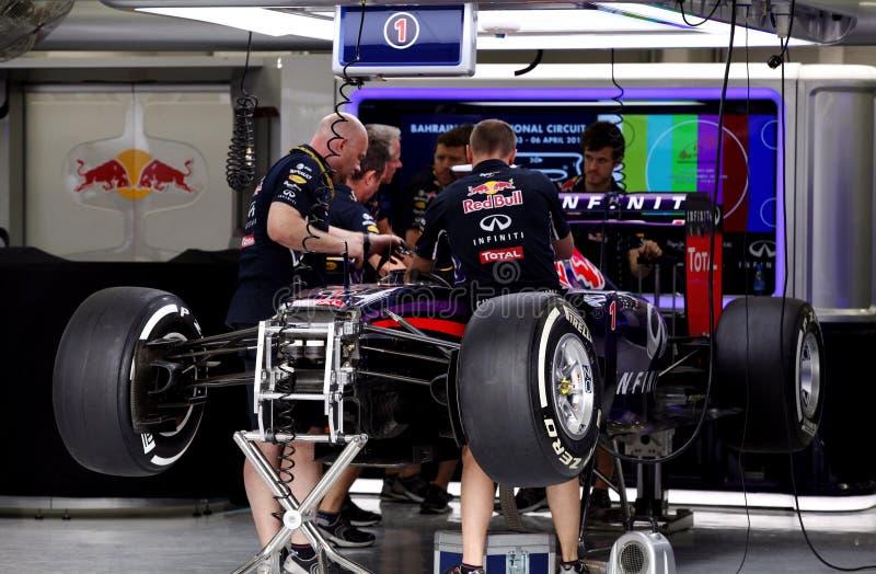 Garage d'arrêt de mine d'équipe Red Bull Emballer-Renault images libres de droits