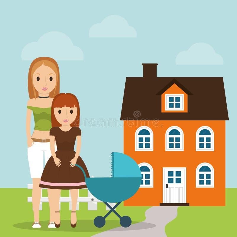 Garage de fille et de bébé de mère illustration de vecteur
