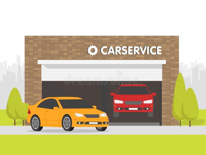Garage dell'officina riparazioni dell'automobile L'automobile su fondo della costruzione di mattone Spazio urbano nei precedenti royalty illustrazione gratis