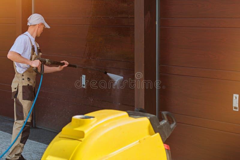 Garage Door Washing royalty free stock photo
