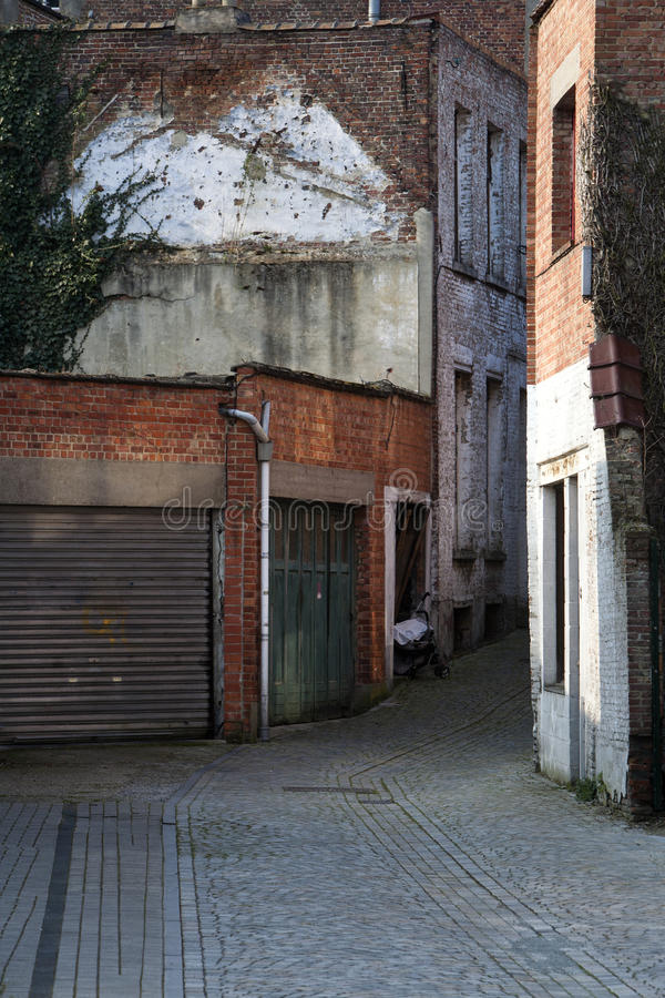 Marvelous Download Garage Doors And A Small Alley Stock Image   Image Of Garage, Wall: