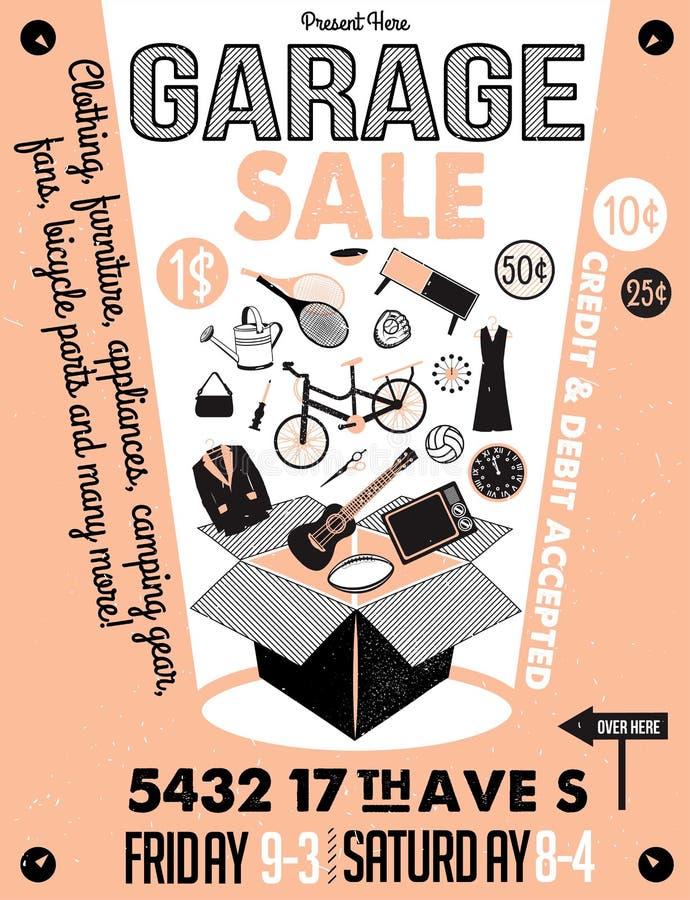 Garage eller gård Sale med tecken-, ask- och hushållobjekt royaltyfri illustrationer