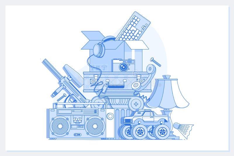 Garage eller g?rd Sale med tecken-, ask- och hush?llobjekt E stock illustrationer