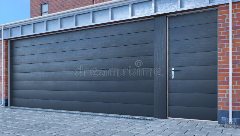 Garage entrance with sectional doors. 3d illustration royalty free illustration