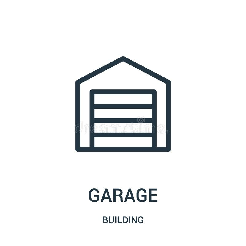 garage icon vector from building collection. Thin line garage outline icon vector illustration vector illustration