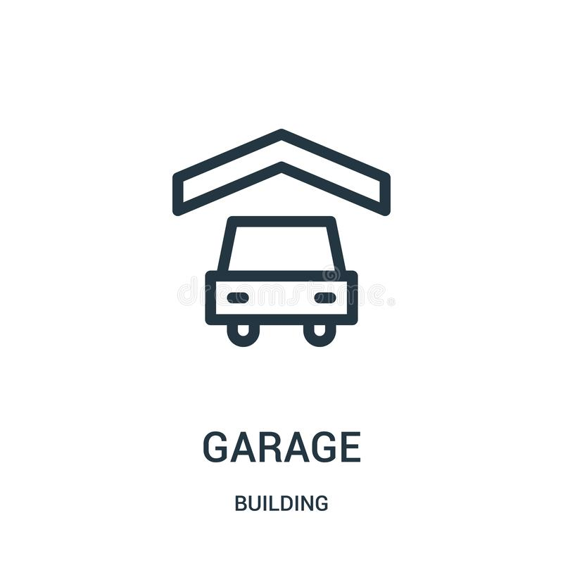 garage icon vector from building collection. Thin line garage outline icon vector illustration stock illustration