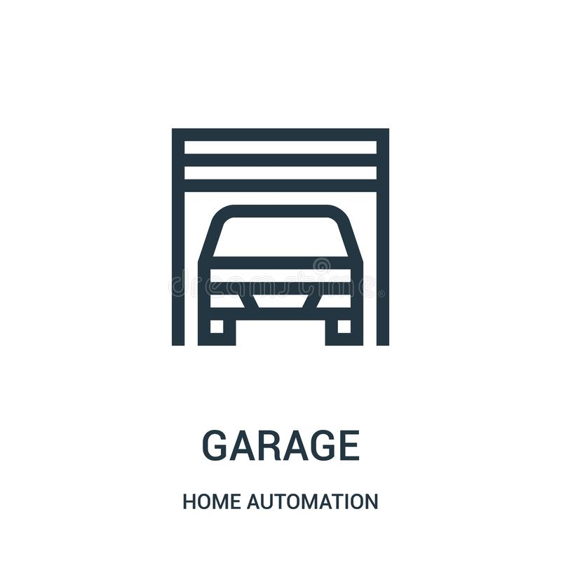 garage icon vector from home automation collection. Thin line garage outline icon vector illustration. Linear symbol stock illustration