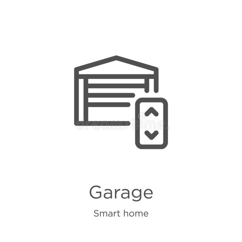 garage icon vector from smart home collection. Thin line garage outline icon vector illustration. Outline, thin line garage icon vector illustration