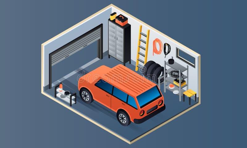 Garage interior banner, isometric style stock illustration