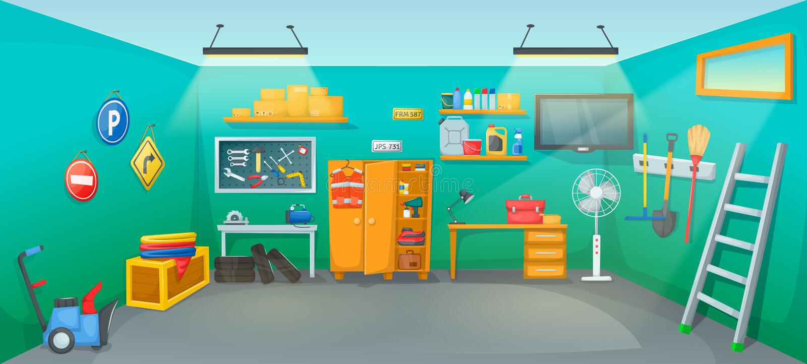 Garage interior room with tools furniture inventory equipment. Workplace on car repair with auto equipment, tires, jerrican, tools, boxes, wrenches stock illustration