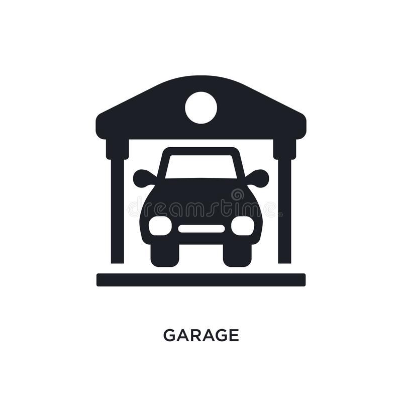 garage isolated icon. simple element illustration from real estate concept icons. garage editable logo sign symbol design on white vector illustration
