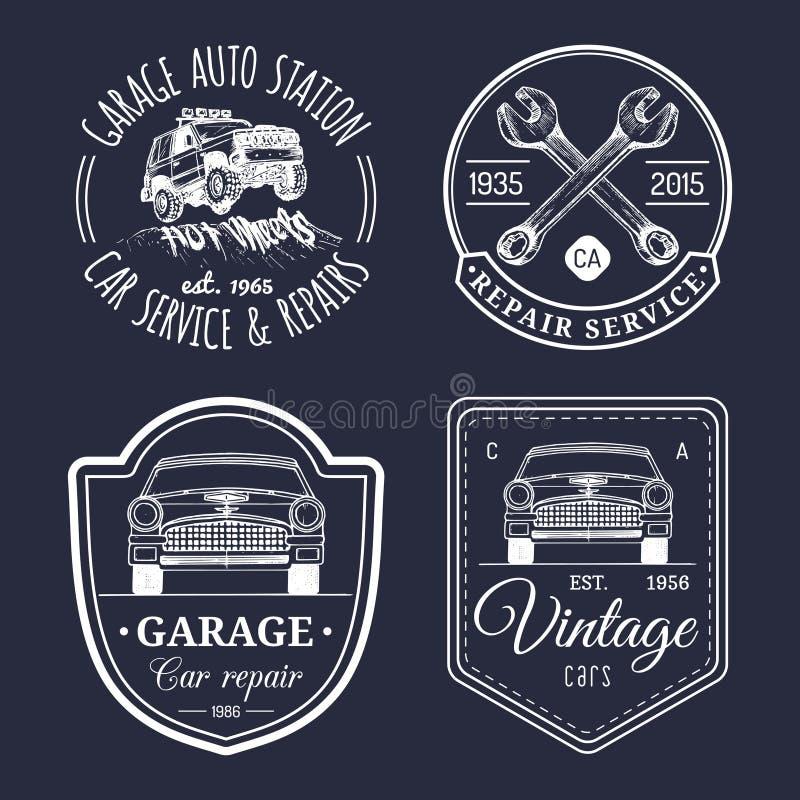 Garage Logos Set. Car Repair Emblems Collection. Vector Vintage ...