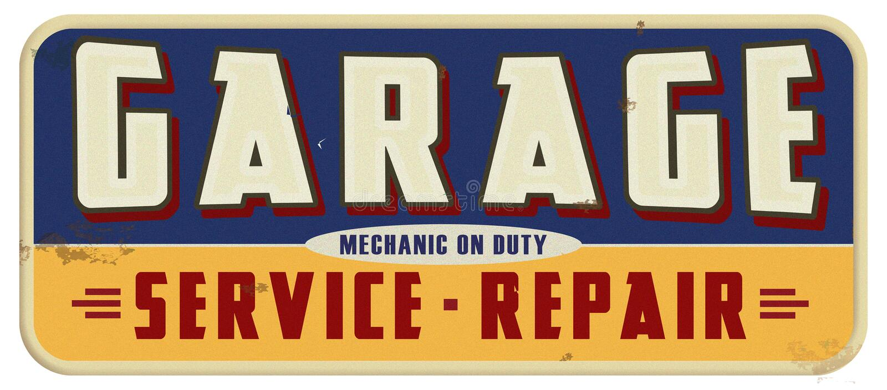 Garage Mechanic On Duty Sign. Retro Garage Mechanic On Duty Tin Sign Grunge Rusted Vintage Auto Service Repair stock illustration
