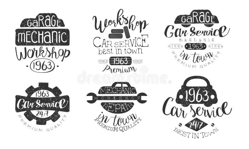 Garage Mechanic Workshop Premium Quality Retro Labels Set, Car Service Hand Drawn Badges Monochrome Vector Illustration royalty free illustration