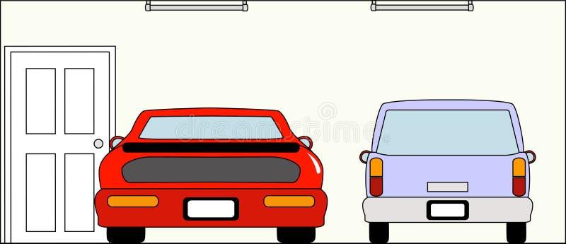 Garage med bilar royaltyfri illustrationer