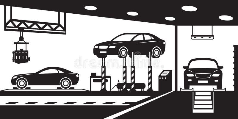 Garage met tribune, kanaal en kraan vector illustratie