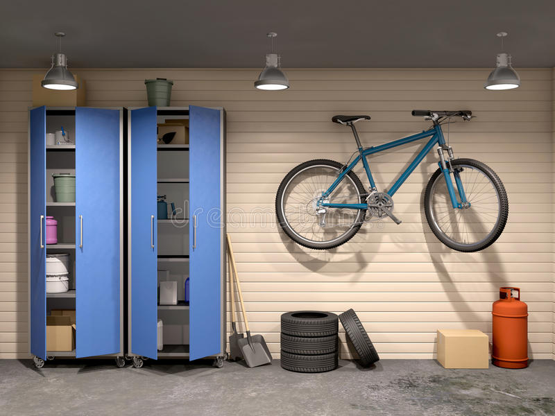 Garage mit vielen Sachen und Fahrrad lizenzfreie stockfotografie