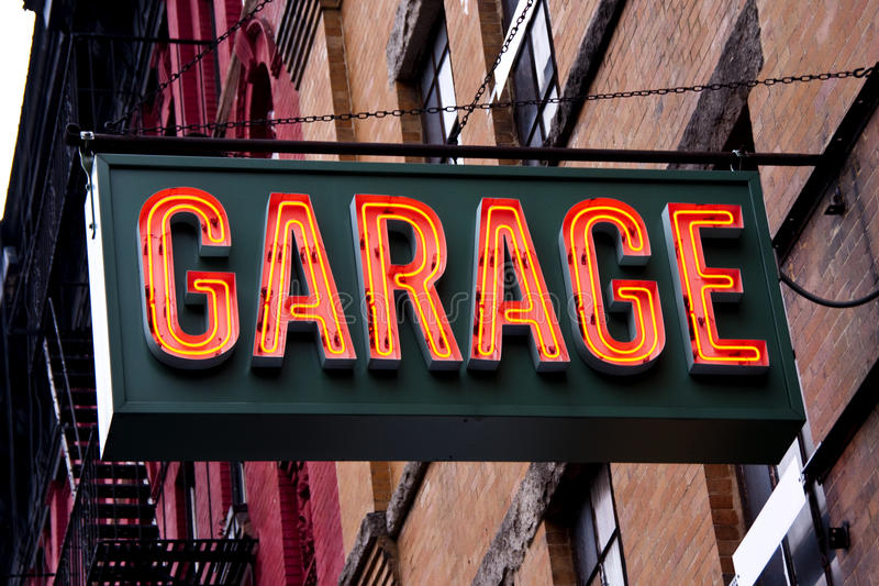 Garage Neon Sign stock photo