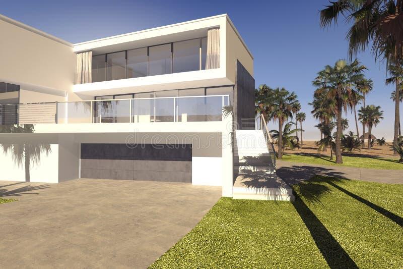 Garage och uteplats på ett lyxigt tropiskt hus royaltyfri illustrationer