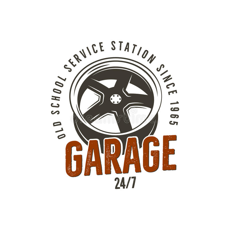 Garage old school service station label. Vintage tee design graphics, complete auto repair typography print. Custom t vector illustration