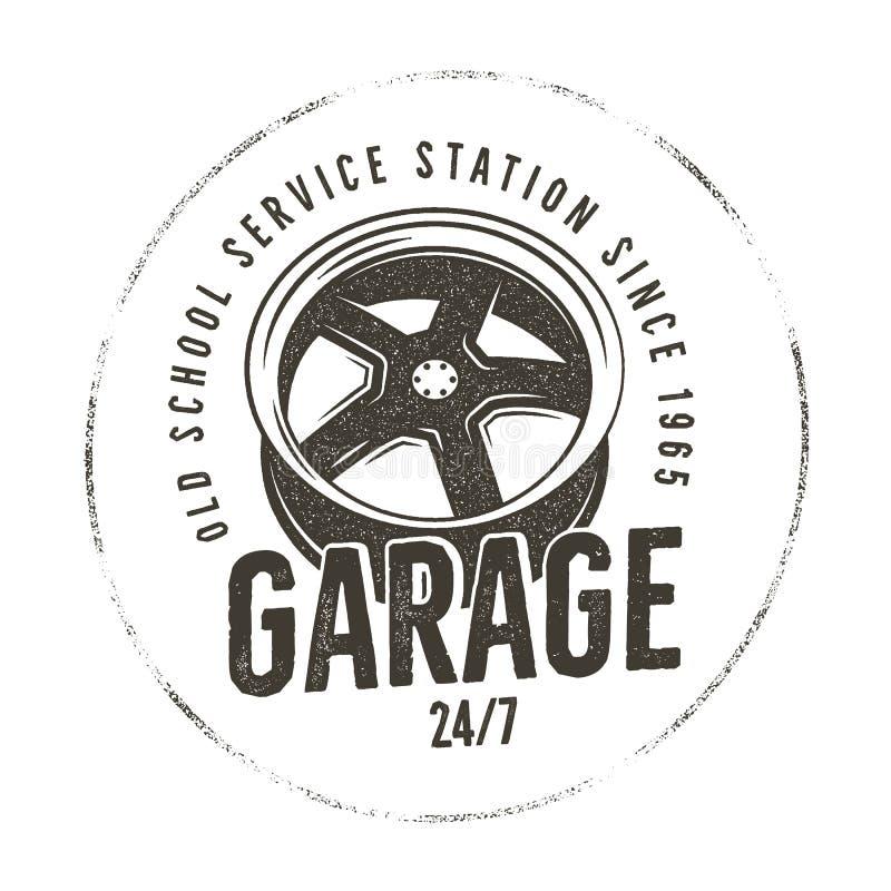 Garage old school service station label. Vintage tee design graphics,. Complete auto repair typography print. Custom t-shirt stamp, teeshirt graphic. For emblem vector illustration