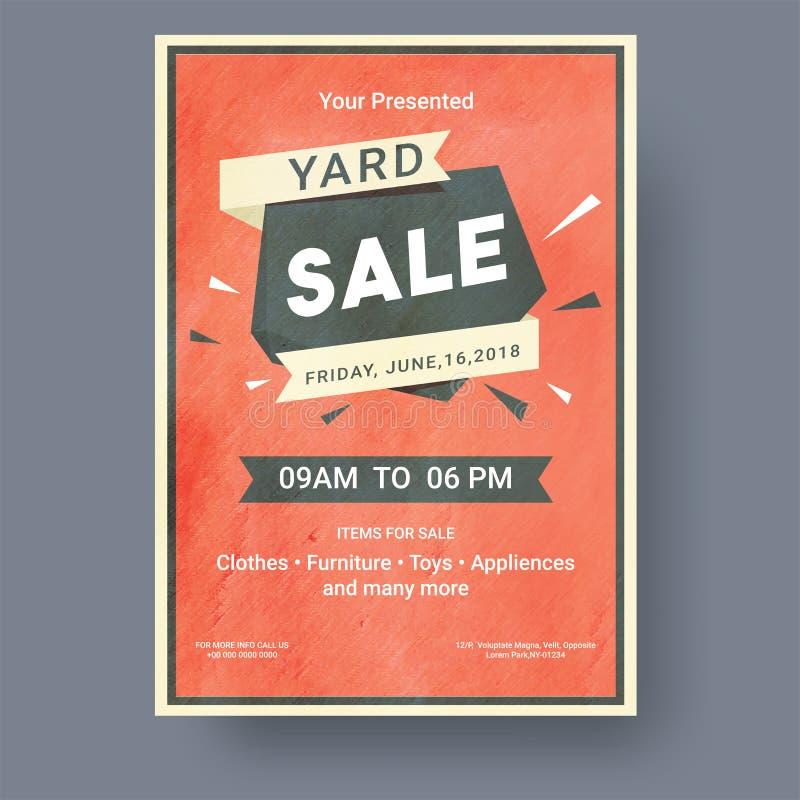 Garage ou affiche ou banne imprimable d'annonce d'événement de vente de bric-à-brac illustration libre de droits