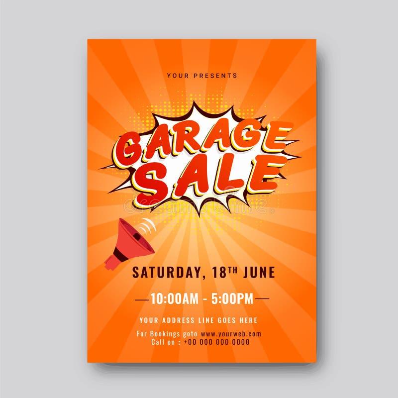 Garage ou affiche ou banne imprimable d'annonce d'événement de vente de bric-à-brac illustration de vecteur