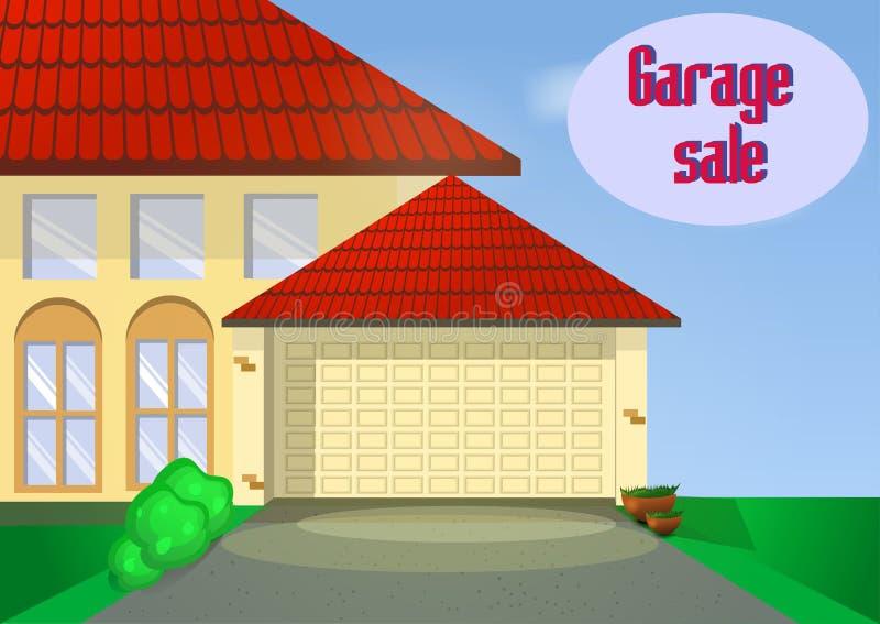 Garage ou vente de bric-à-brac avec des articles de signes, de boîte et de ménage photos stock