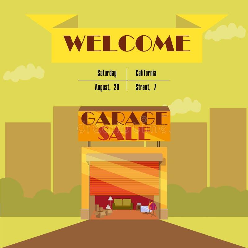 Garage ou vente de bric-à-brac avec des articles de signes, de boîte et de ménage photographie stock