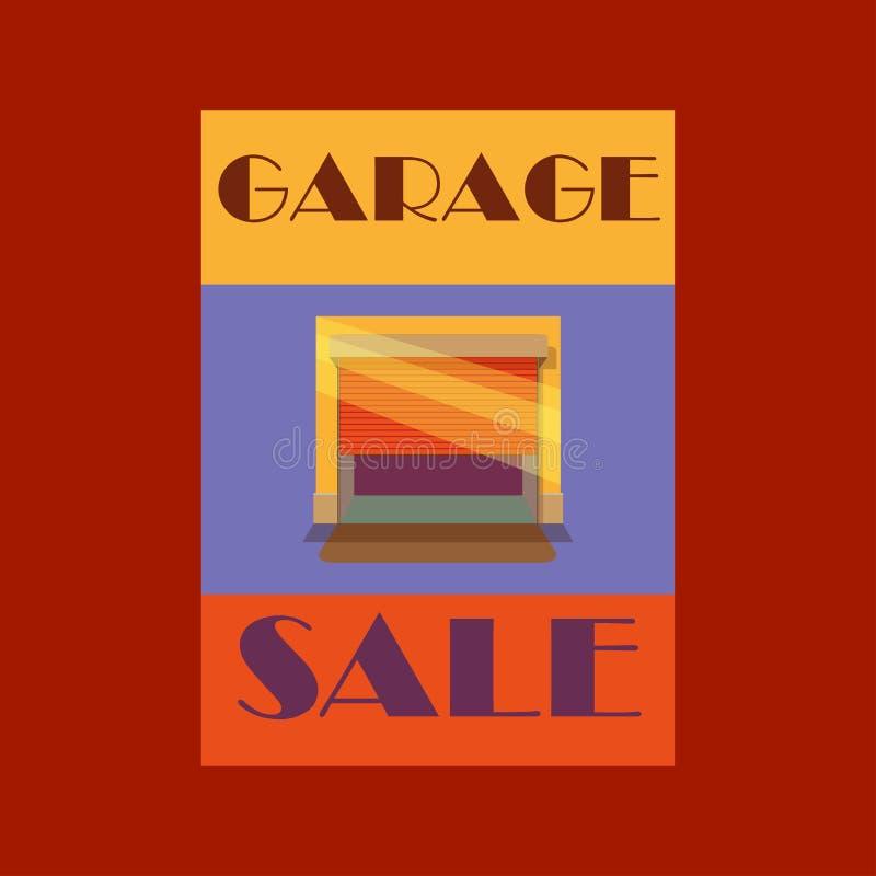 Garage ou vente de bric-à-brac avec des articles de signes, de boîte et de ménage images stock