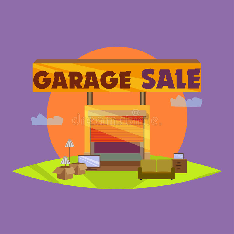Garage ou vente de bric-à-brac avec des articles de signes, de boîte et de ménage image libre de droits