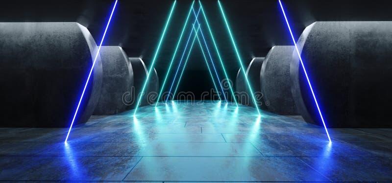 Garage réfléchi rougeoyant de couloir de colonnes de lasers de Sci fi de lampes au néon de grunge concret futuriste moderne bleu  illustration stock