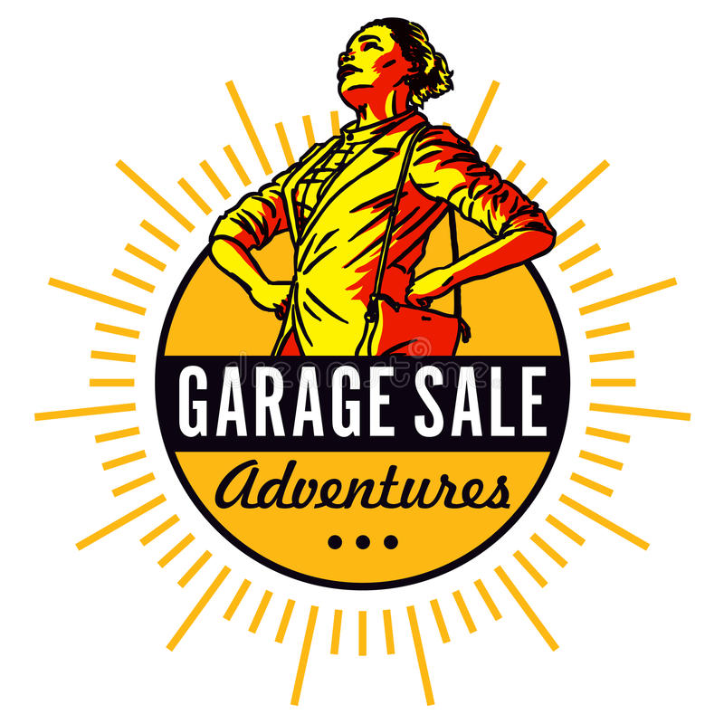 Garage Sale Adventures. Spring and summer are the time for home garage sales! Antiques, clothing, colorful goods are stacked outside the house. Junk to some royalty free illustration