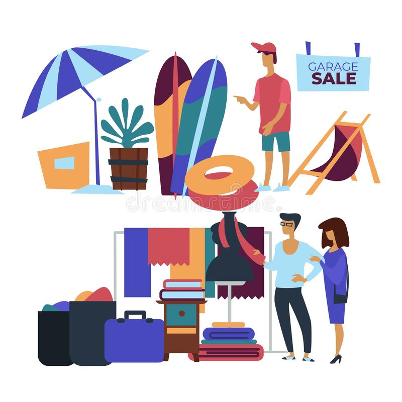 Garage sale beach items and clothes customers selling. Selling garage sale beach items and clothes customers vector umbrella and surfboard inflatable ring and vector illustration