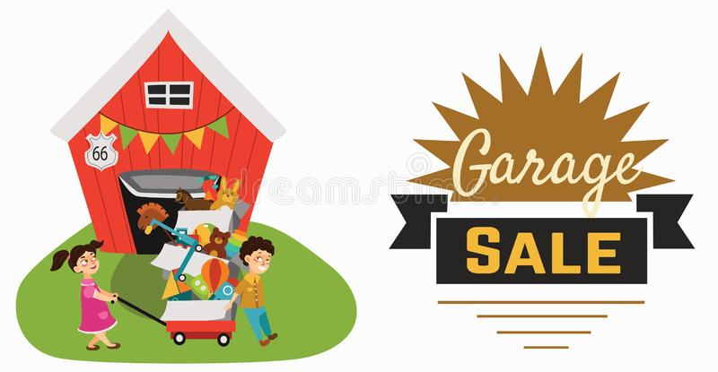 Garage Sale, Boy and girl bought toys at spring sale, children carry cart with boxes used toy, kids sell old used toys stock illustration