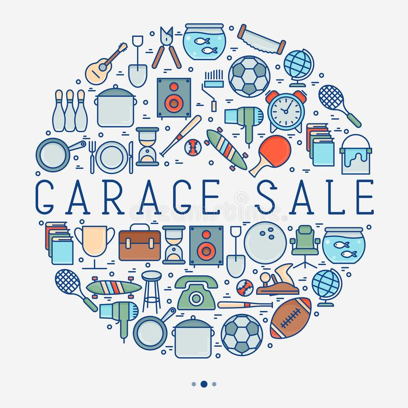 Garage sale or flea market concept in circle. With place for text. Thin line vector illustration for banner, web page, print media stock illustration