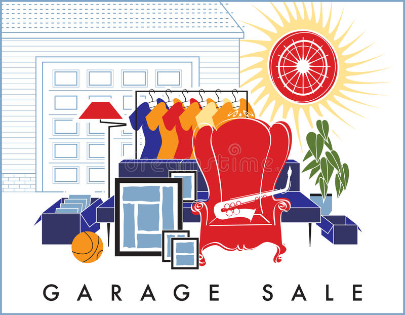 Garage Sale Junk. Spring and summer are the time for home garage sales! Antiques, clothing, colorful goods are stacked outside the house. Junk to some, shopping royalty free illustration