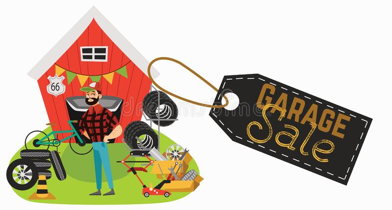 Garage sale, man sell used car parts, tires wheels in back yard, mechanic offers spring sale goods vector illustration stock illustration