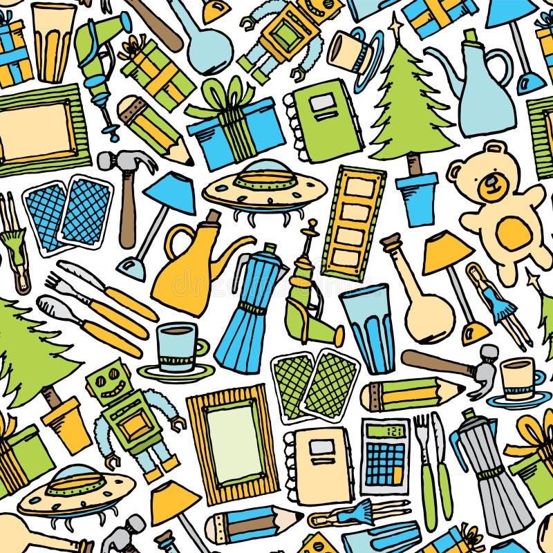 Garage sale naadloos patroon/Kleurrijke Objecten achtergrond royalty-vrije illustratie