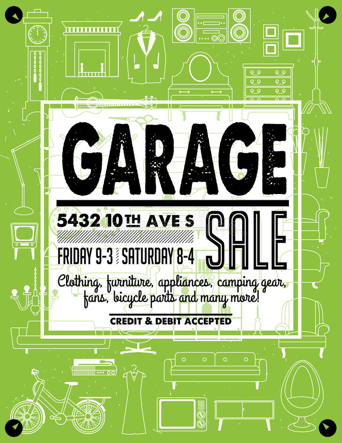 Garage Sale Poster stock vector. Illustration of advertising - 94671202