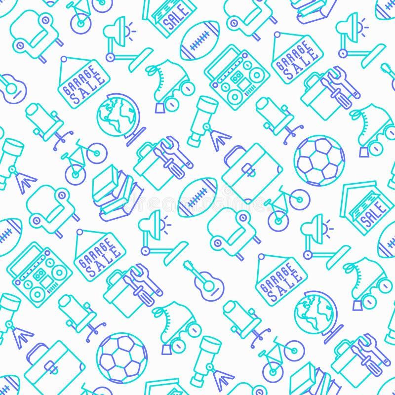 Garage sale seamless pattern vector illustration