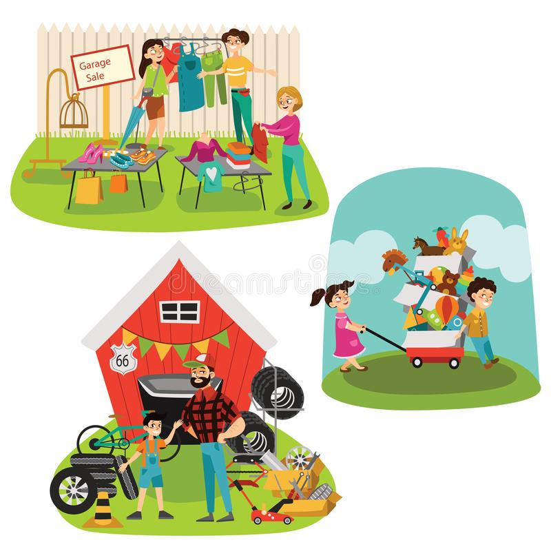 Garage Sale, Sellers sell old goods low price clearing house spring, used clothes and shoes, Man sells spare parts tires stock illustration